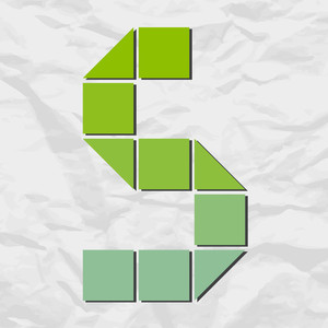 Letter S From Squares And Triangles On A Paper-background. Vector Illustration