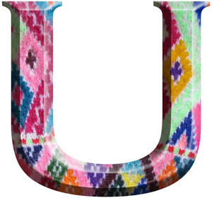 Letter U Made With Hand Made Woolen Fabric