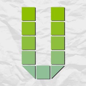 Letter V From Squares And Triangles On A Paper-background. Vector Illustration