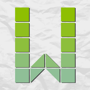 Letter W From Squares And Triangles On A Paper-background. Vector Illustration