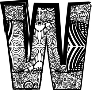 Letter W With Abstract Drawing. Vector Illustration