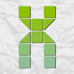 Letter X From Squares And Triangles On A Paper-background. Vector Illustration