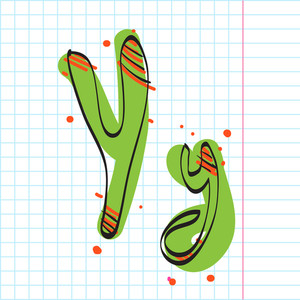 Letter Y From Candy Alphabet. Vector Illustration