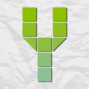 Letter Y From Squares And Triangles On A Paper-background. Vector Illustration