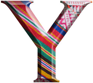 Letter Y Made With Hand Made Woolen Fabric