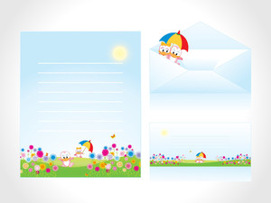 Letterhead With Kid Background And Envelope
