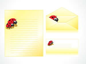 Letterhead With Ladybug Background And Envelope