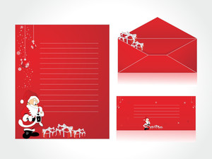 Letterhead With Santa Background And Envelope