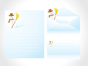 Letterhead With Winter Background And Envelope