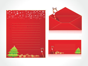 Letterhead With Xmas Background And Envelope