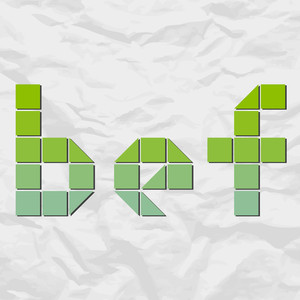 Letters Bef From Squares And Triangles On A Paper-background. Vector Illustration