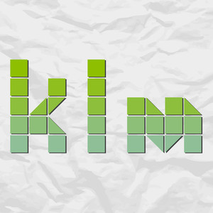 Letters Klm From Squares And Triangles On A Paper-background. Vector Illustration