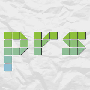 Letters Prs From Squares And Triangles On A Paper-background. Vector Illustration