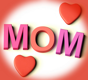 Letters Spelling Mom With Hearts As Symbol For Celebration And Best Wishes