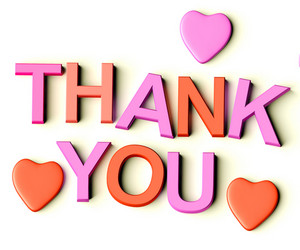 Letters Spelling Thank You With Hearts As Symbol For Gratitude And Appreciation