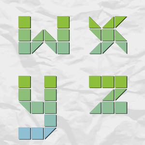 Letters Wxyz From Squares And Triangles On A Paper-background. Vector Illustration