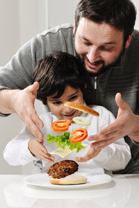 Levitating burger in air made by father and son