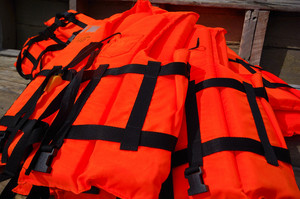 Life jacket suit on boat