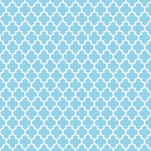 Light Blue And White Quatrefoil Pattern