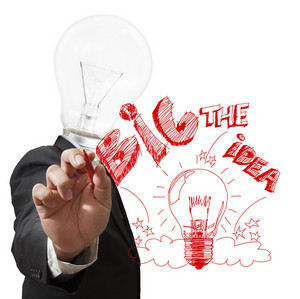 Light Bulb Head Draws The Big Idea With Red Pen