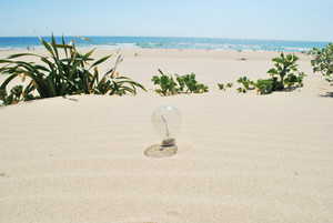 Lightbulb On Sand (global Warming)