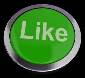 Like Button In Green Showing Approval And Being A Fan