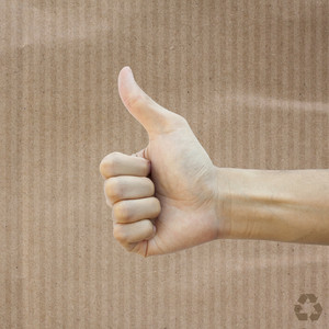 Like hand on Recycle paper texture background