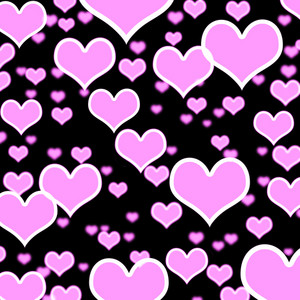 Lilac Hearts Bokeh Background On Black Showing Love Romance And Valentines
