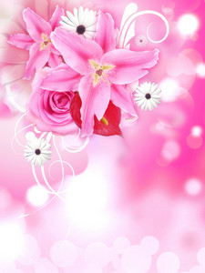 Lily Flowers With Rose And Other Flowers Background