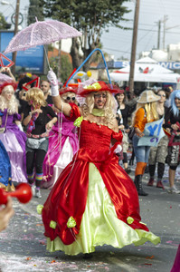 Limassol - February 14: Man Disguised In A Woman Dress At Carnival Parade On February 14