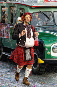 Limassol - February 14: Portrait Of Senior Man Disguised As Scotsman At Limassol Carnival At Carnival Parade On February 14