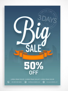 Limited time period big sale flyer banner or template design with discount offer.