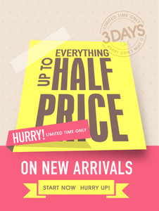 Limited time sale flyer banner or template with half price discount on new arrivals.
