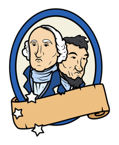 Lincoln And Washington Together Vector Design With A Blank Old Scroll Banner