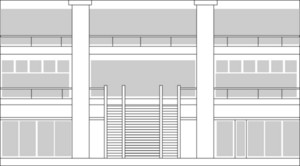 Line Drawing Of An Interior Lobby Of A Building