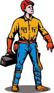 Lineman Standing With Toolbox