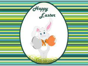 Lines Background With Bunny Holding Egg
