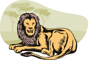 Lion Big Cat Retro