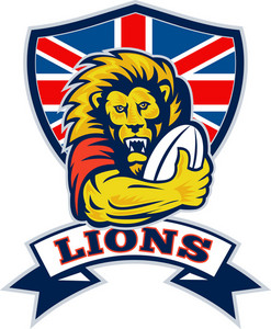Lion Playing Rugby With Ball Union Jack Shield