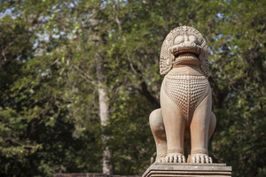 Lion sculpture in Ankor Thom. Cambodia
