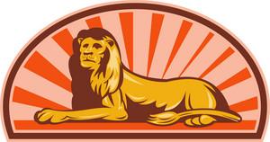 Lion Sitting With Sunburst In Background
