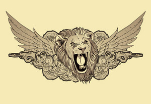 Lion With Floral And Wings Vector Illustration