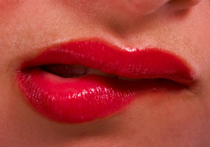 Lips Showing Nervous Woman