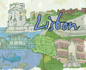 Lisbon Doodles Vector Illustration