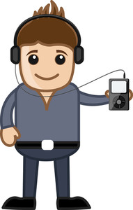 Listening Music Via Mp3 Player - Business Cartoons