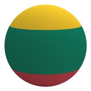 Lithuania Flag On The Ball Isolated On White.
