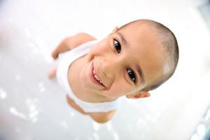 Little boy, cute short hair, almost bald :)