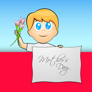 Little Boy Holding Flowers And Tag