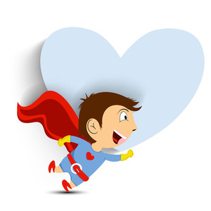 Little Boy In Superhero Costume On Heart Shape Background