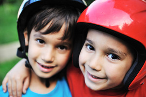 Little boys  with biking safety helmet portrait